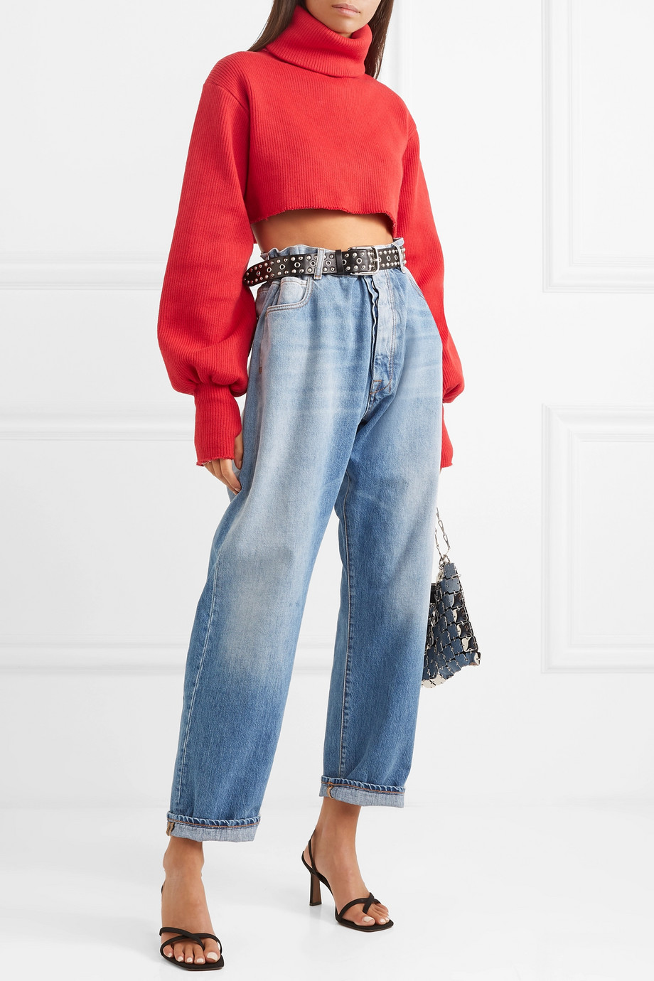 Orseund Iris Distressed cropped ribbed-knit turtleneck sweater