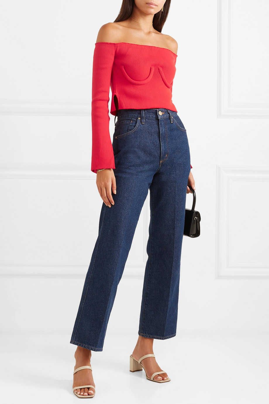 Orseund Iris Cropped off-the-shoulder ribbed-knit sweater