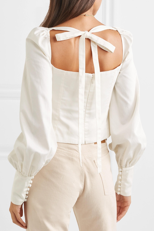 Orseund Iris Victorian button-embellished Pima cotton-sateen blouse