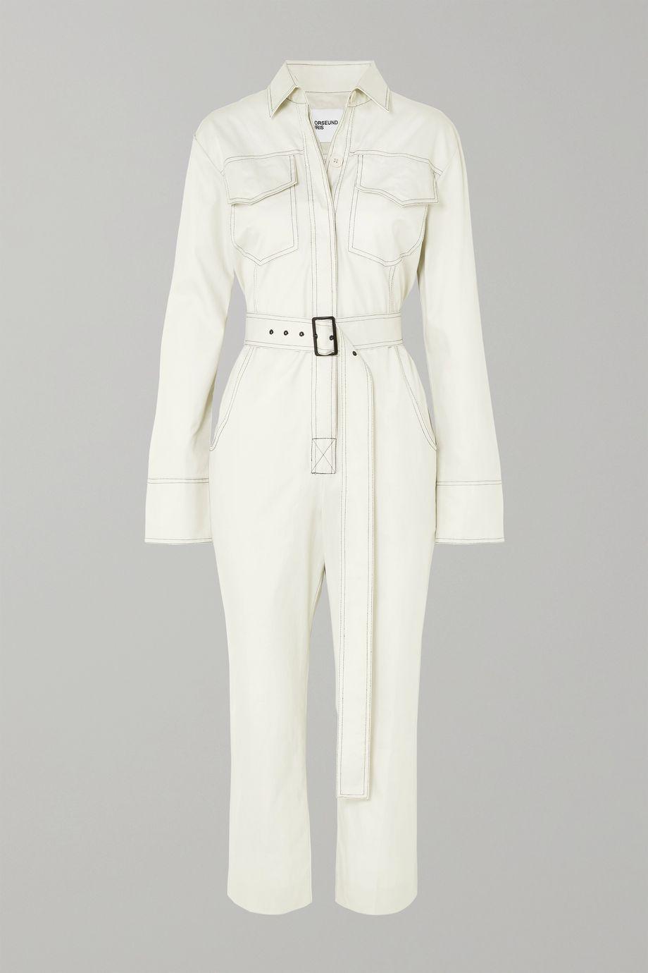 Orseund Iris Workwear belted cotton-gabardine jumpsuit