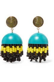 Gold-tone, enamel, glass and resin clip earrings