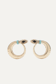 Etro Gold-tone crystal clip earrings