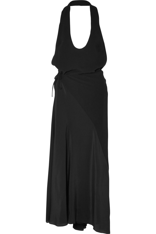 Haider Ackermann Crepe and silk halterneck wrap maxi dress