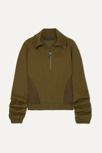 HAIDER ACKERMANN | Haider Ackermann - Camionneur Zip-Detailed Paneled Stretch-Cotton Sweatshirt - Brown | Goxip