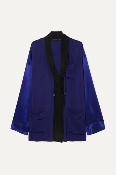 Haider Ackermann T-shirts Two-tone crepe and silk-satin shirt