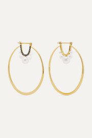 18-karat gold, diamond and freshwater pearl earrings