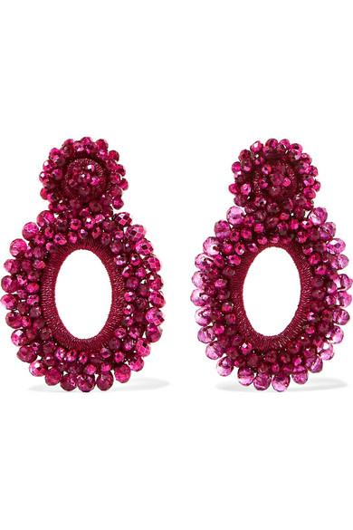 BIBI MARINI Primrose Bead And Silk Earrings in Fuchsia