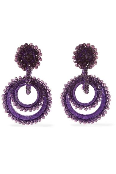 BIBI MARINI Mini Sundrop Bead And Silk Earrings in Purple