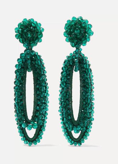 BIBI MARINI Bell Bead And Silk Earrings in Green