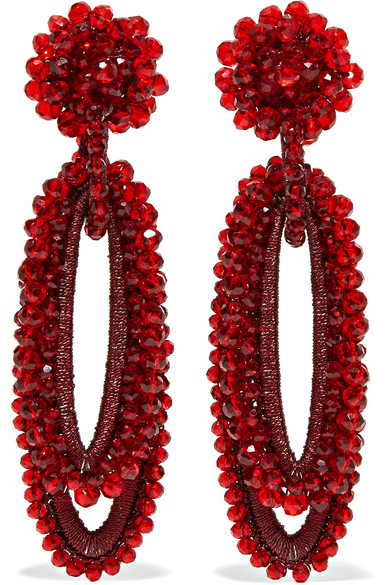 BIBI MARINI Bell Bead And Silk Earrings in Red