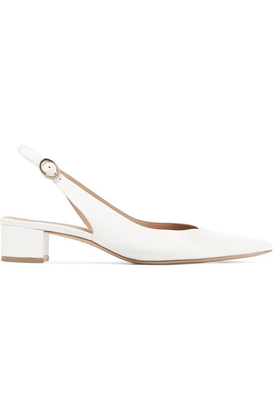 Low-Heel Lamb Leather Slingback Pump in White