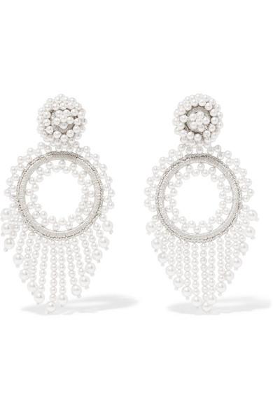 BIBI MARINI Faux Pearl And Silk Earrings in White