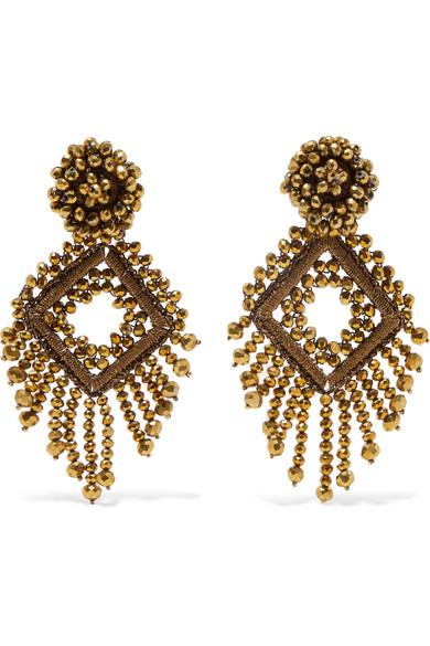 BIBI MARINI Deco Bead And Silk Earrings in Gold