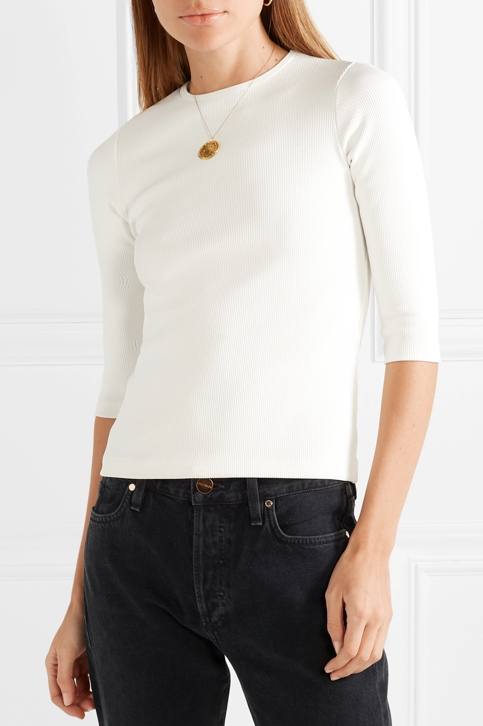 GOLDSIGN The Rib stretch cotton-blend jersey top