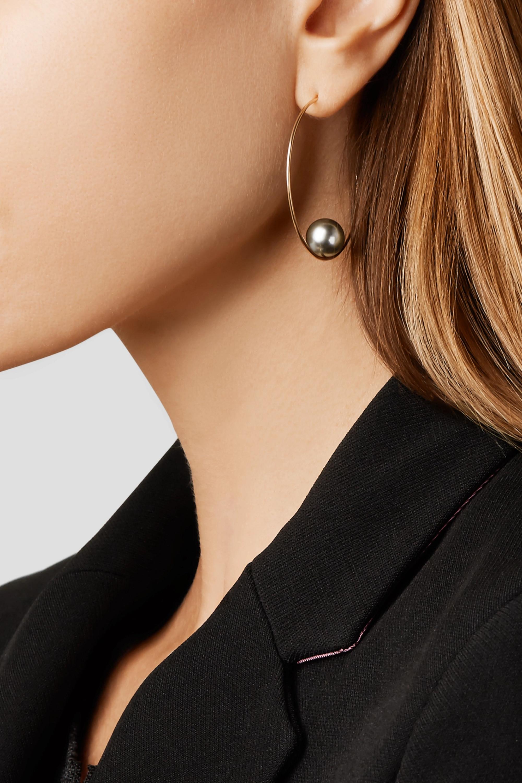 Mizuki 14-karat gold pearl hoop earrings