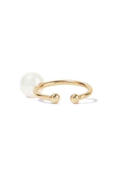 Mizuki Accessories 14-KARAT GOLD PEARL EAR CUFF