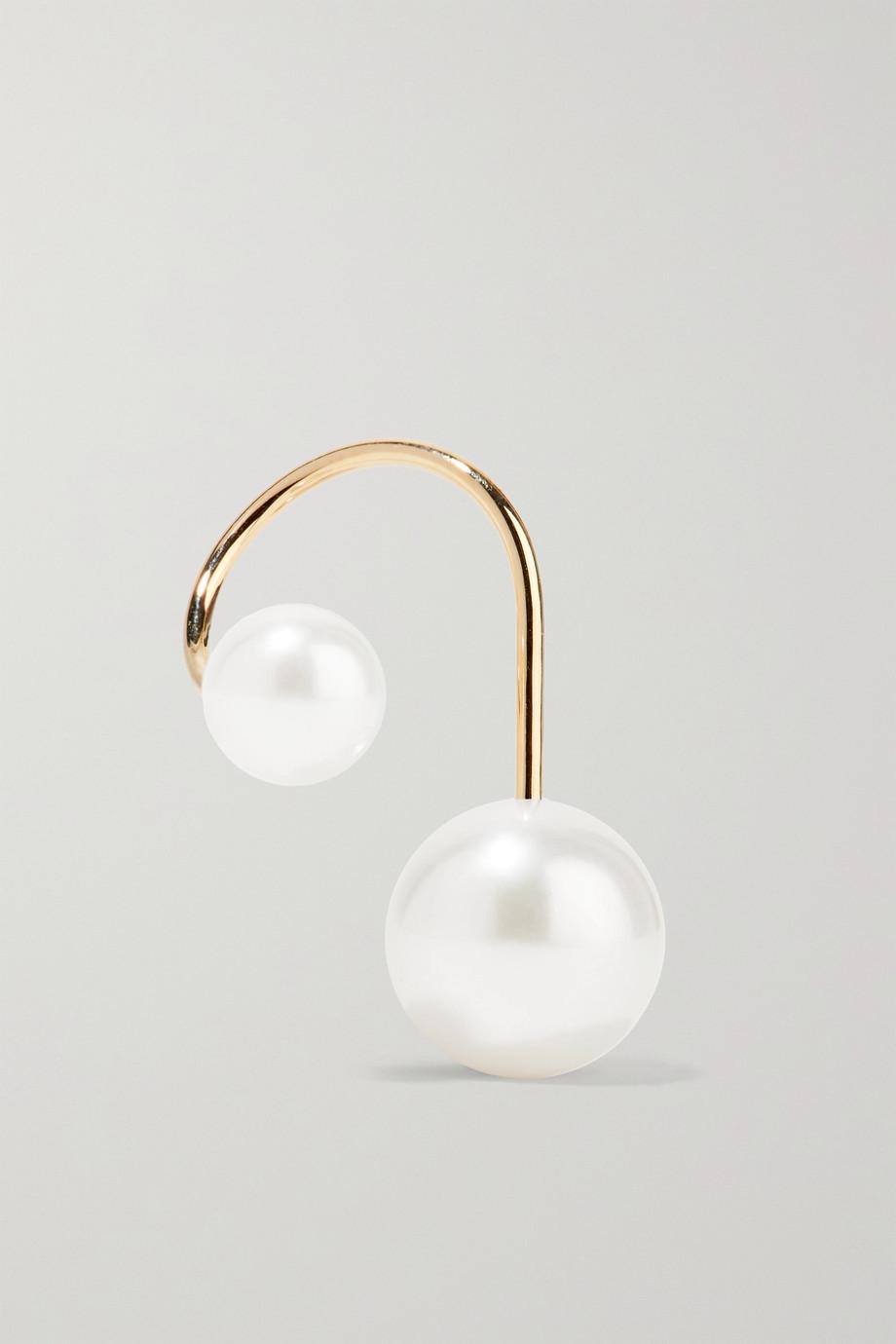 Sophie Bille Brahe Petite Elipse Nouveau 14-karat gold pearl earring