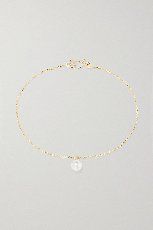 Sophie Bille Brahe Palme a Pied 14-karat gold pearl anklet