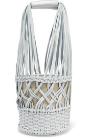 Anna woven leather bucket bag