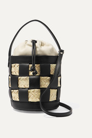 Galeda mini woven leather, raffia and canvas bucket bag