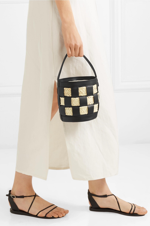 HEREU Galeda mini woven leather, raffia and canvas bucket bag
