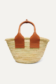 Cistell leather-trimmed straw tote