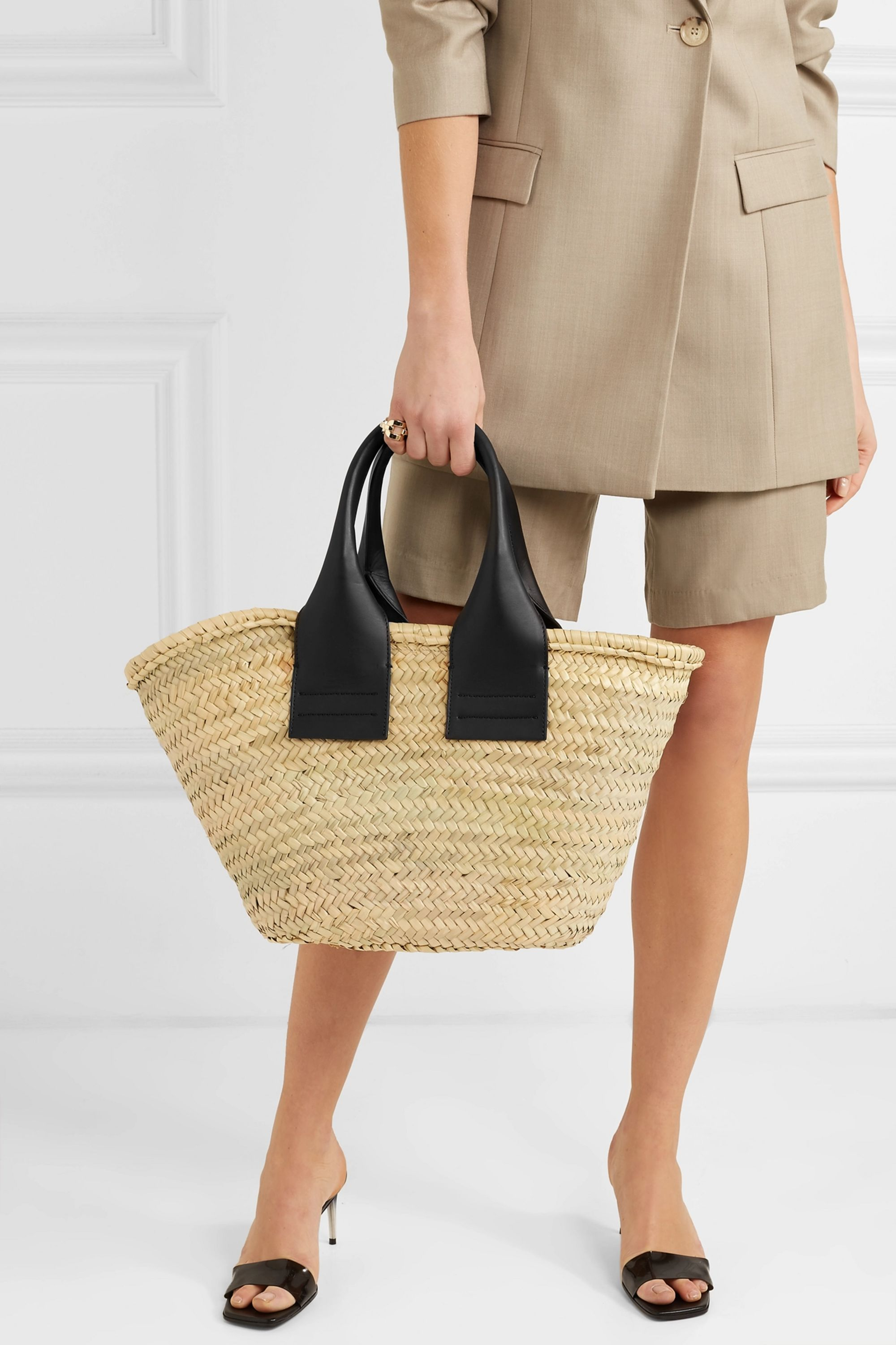 HEREU Cistell leather-trimmed straw tote