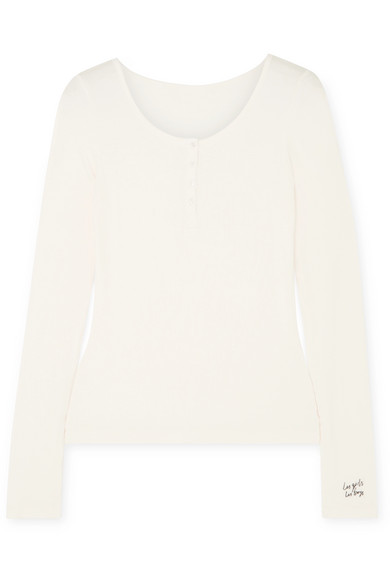LES GIRLS, LES BOYS Embroidered Ribbed Stretch-Jersey Pajama Top in Ecru