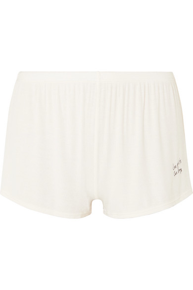 LES GIRLS, LES BOYS Embroidered Ribbed Stretch-Jersey Pajama Shorts in Ecru