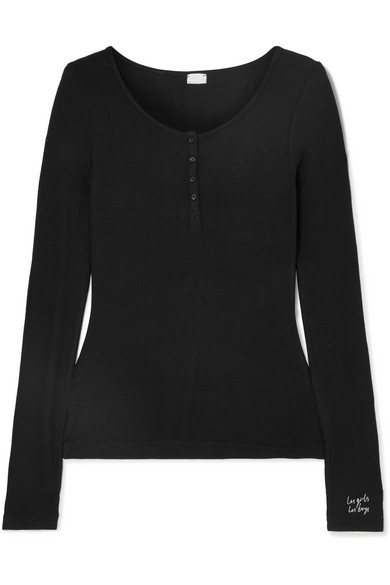 LES GIRLS, LES BOYS Embroidered Ribbed Stretch-Jersey Pajama Top in Black