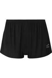 Les Girls Les Boys Pyjama-Shorts aus geripptem Stretch-Jersey mit Stickerei