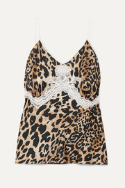 Paco Rabanne Lace-trimmed leopard-print satin camisole