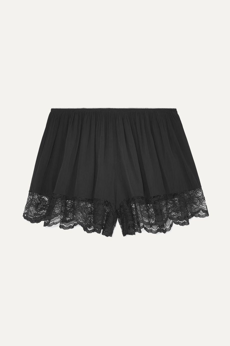 Paco Rabanne Lace-trimmed crepe de chine shorts