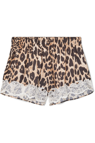 PACO RABANNE   Paco Rabanne - Lace-trimmed Leopard-print Charmeuse Shorts - Leopard print   Goxip