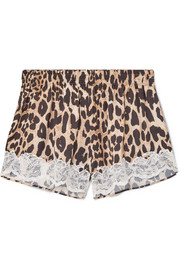 Lace-trimmed leopard-print charmeuse shorts