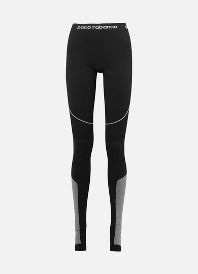 PACO RABANNE | Paco Rabanne - Paneled Stretch-jersey Leggings - Black | Goxip