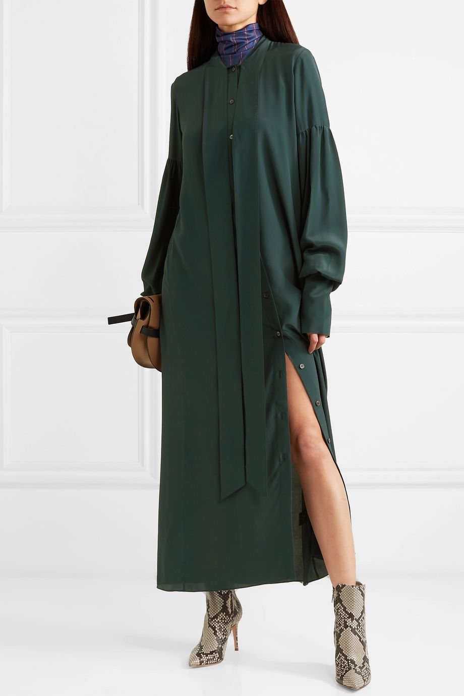 Rokh Tie-detailed washed-satin maxi dress
