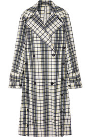 Oversized convertible checked woven trench coat