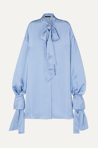 ROKH | Rokh - Open-back Tie-detailed Striped Satin Blouse - Blue | Goxip