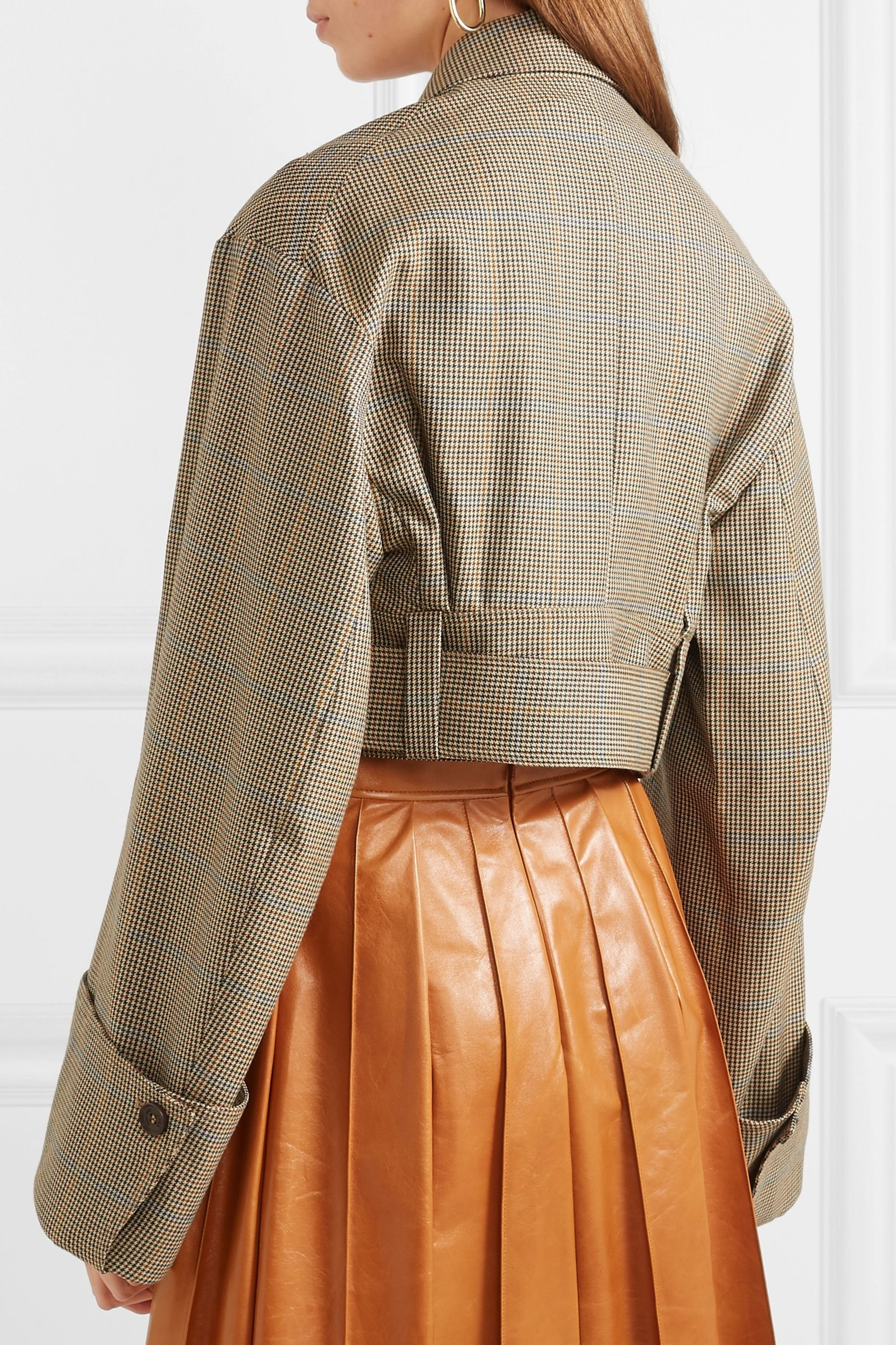 Rokh Belted houndstooth wool jacket