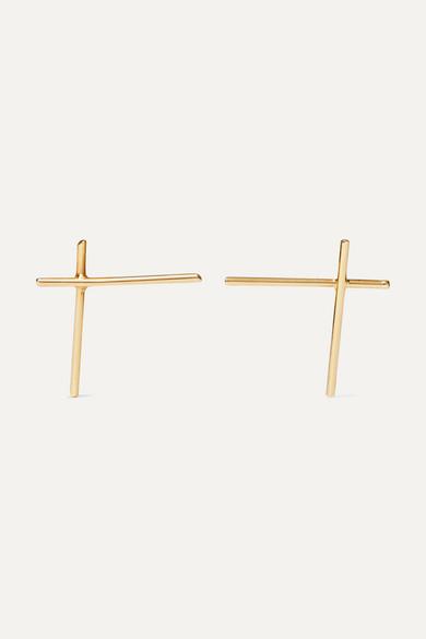 SASKIA DIEZ Wire Cross 18-Karat Gold Earrings