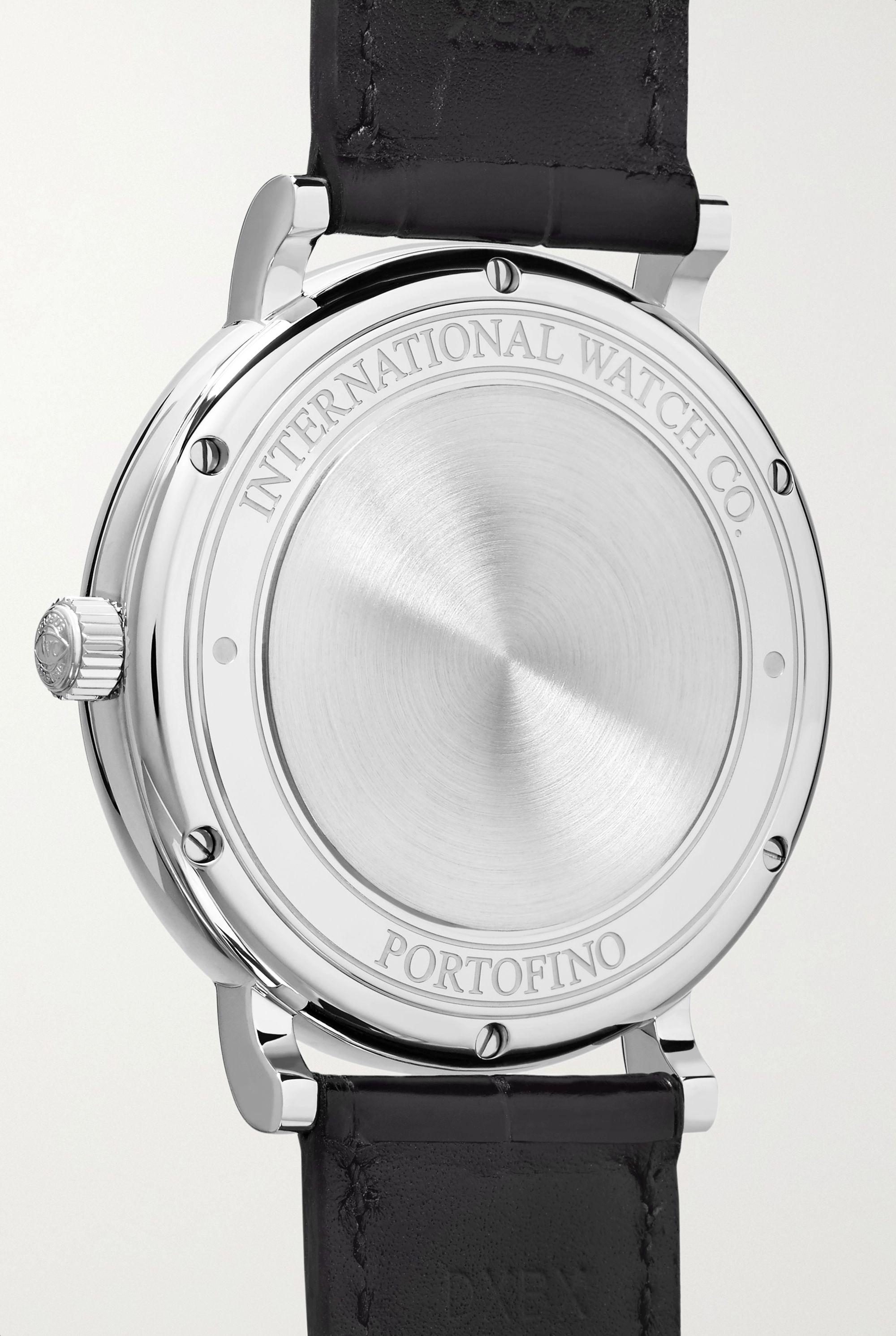 IWC SCHAFFHAUSEN Portofino Automatic 40 mm Uhr aus Edelstahl mit Alligatorlederarmband