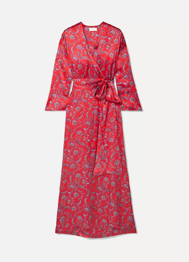 SEREN Floral-Print Silk-Satin Wrap Dress in Red