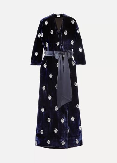 SEREN Exclusive Embroidered Satin-Trimmed Velvet Robe in Navy