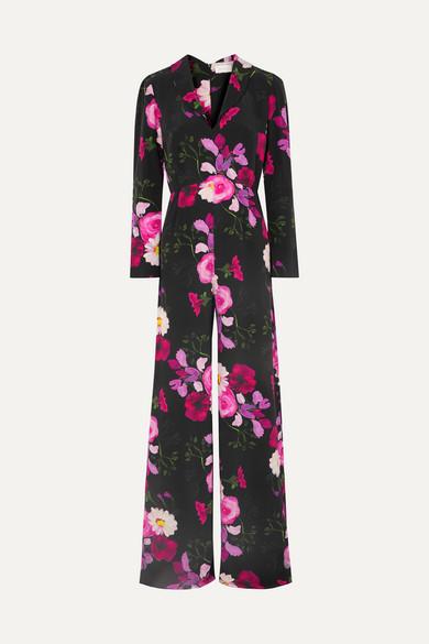 SEREN Exclusive Betty Floral-Print Silk Crepe De Chine Jumpsuit in Black