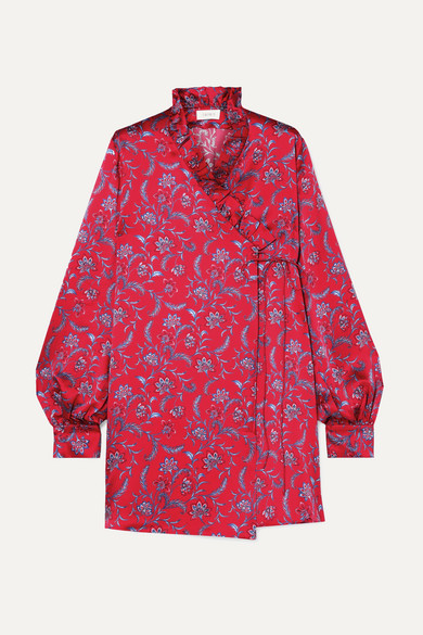 Exclusive Minnie Floral-Print Silk-Satin Wrap Mini Dress in Red