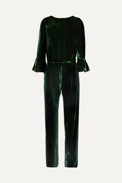 SEREN Gee Open-Back Velvet Jumpsuit in Green