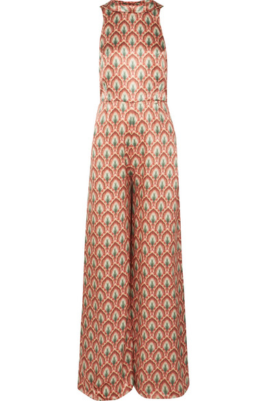 SEREN Lola Open-Back Printed Silk-Satin Jumpsuit in Orange