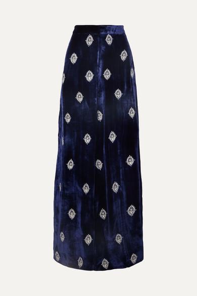 SEREN Joni Embroidered Velvet Wide-Leg Pants in Navy