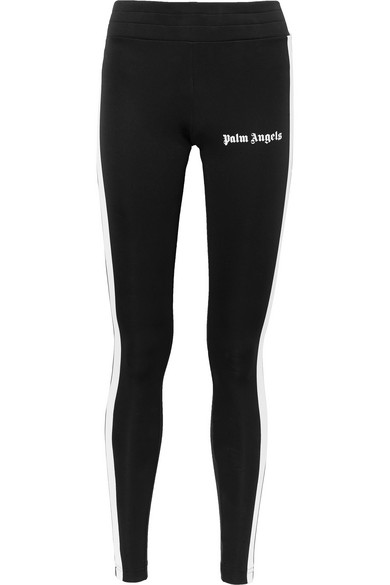 Rack Printed Striped Stretch Jersey Leggings by Palm Angels